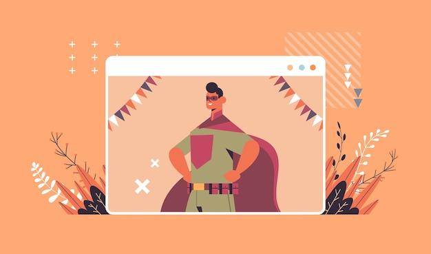 Man in super hero costume happy halloween party celebration self isolation online communication concept web browser window portrait horizontal vector illustration