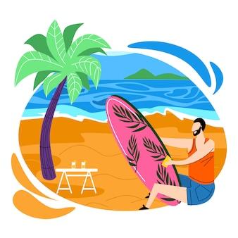 Man surfer polishing surfing board on sandy beach