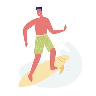 Man surfer in swim wear riding sea wave on board.