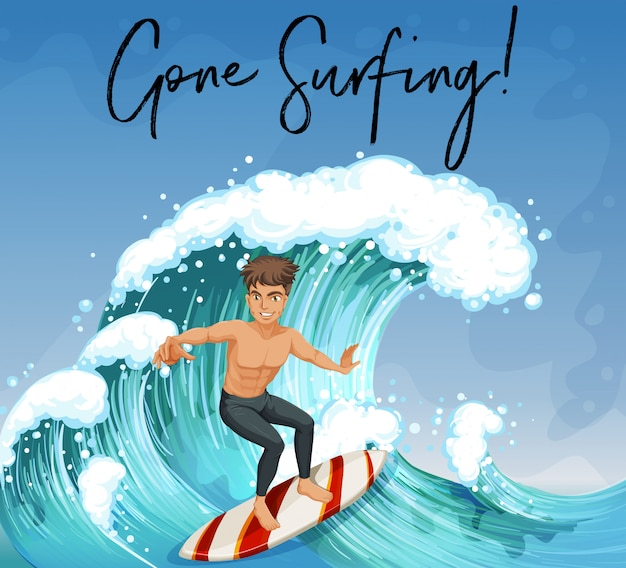 Человек, занимающийся серфингом в океане