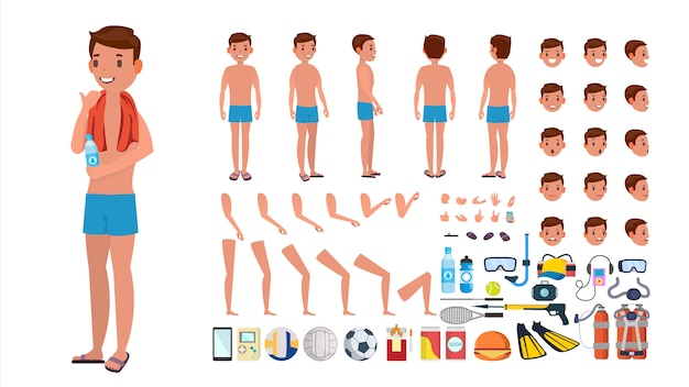 Man in swimsuit vector. animated male character in swimming trunks. summer beach creation set. full length, front, side, back view. poses, face emotions, gestures. isolated flat cartoon