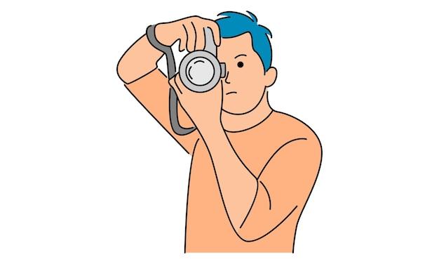 남자는 디지털 카메라로 사진을 찍습니다
