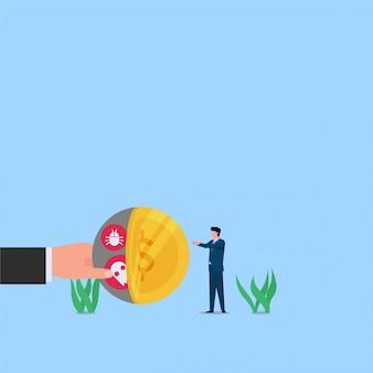 詐欺とハッキングの隠されたウイルスのトロイの木馬の隠喩で男はコインを取ります。ビジネスフラットの概念図。