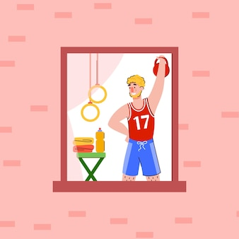 Man takes care of his health and doing sport at home flat vector illustration