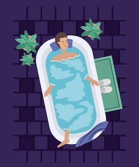 Man taking a bath tub vector illustration design