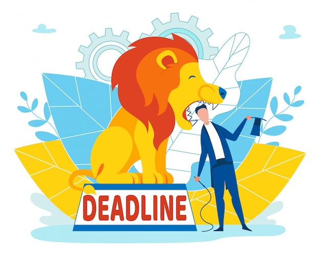 Man taking risks with deadline inscription cartoon