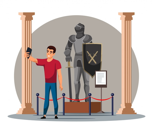 Man taking selfie with knight at historic museum
