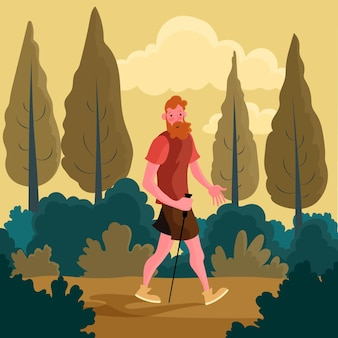 Man taking a walk in the forest