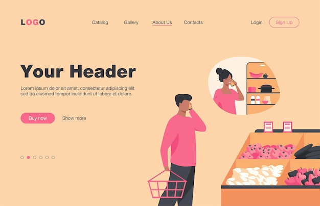 Man talking phone from grocery with woman near fridge isolated flat  landing page. cartoon people buying food for home and husband calling to wife. communication and family concept