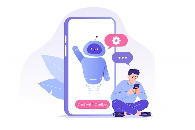 Man talking with chat bot in a big smartphone screen