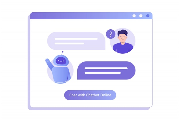Man talking with chat bot in a big user interface