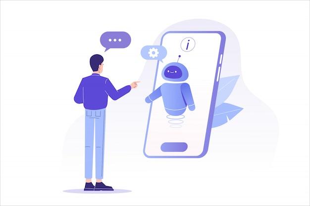 큰 스마트 폰 화면에서 채팅 봇과 이야기하는 남자