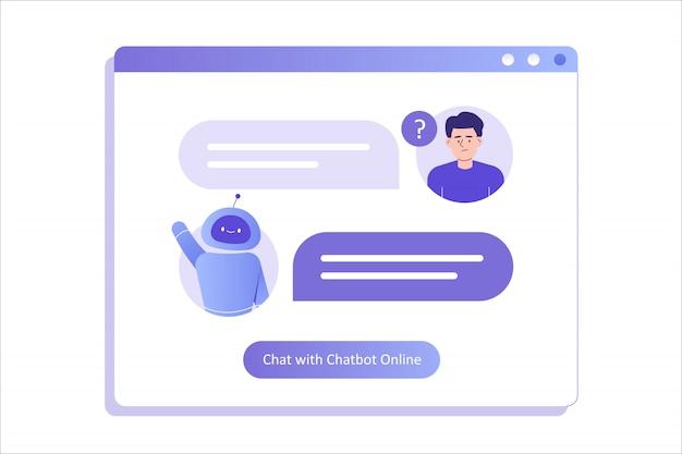 큰 사용자 인터페이스에서 채팅 봇과 이야기하는 남자