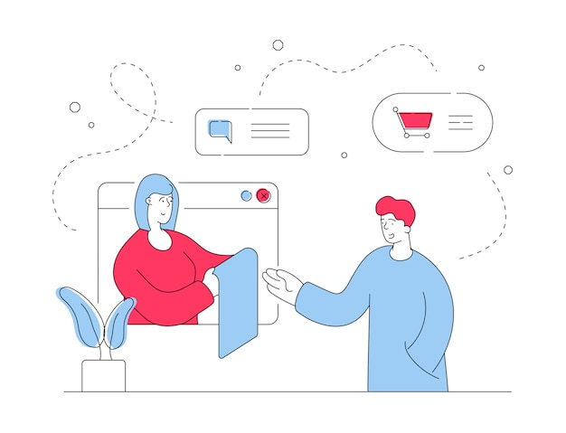 Man talking with online consultant.  line  illustration