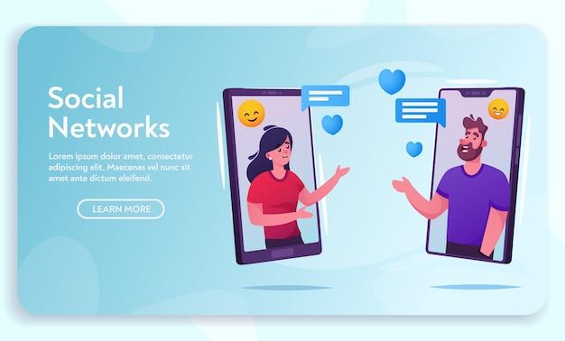 メッセンジャーで女性を話している男性は、スマートフォンの画面上のオンラインチャットでフレンドリーなコメントを言います。