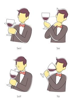 男は4つのステップの方法、イラストでワインを味わいます。