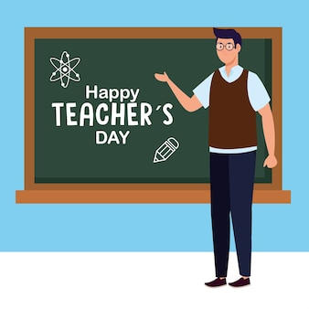 Man teacher with green board design, happy teachers day celebration and education theme