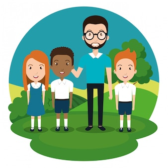 Man teacher with students in the park