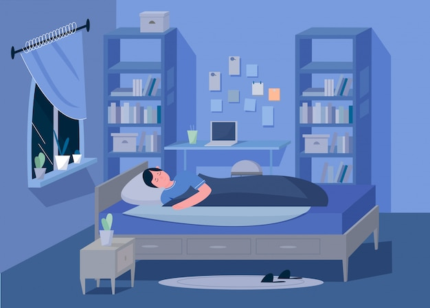 Man teen in bedroom at night character flat vector illustration concept. comfortable interior with bed, nightstand, lamp, shelves, books, laptop, table, curtains