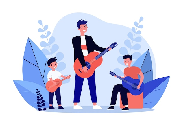 Man, teenager and little boy playing guitars together. musician, fun, children flat vector illustration