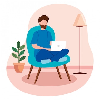 Man telecommuting in living room