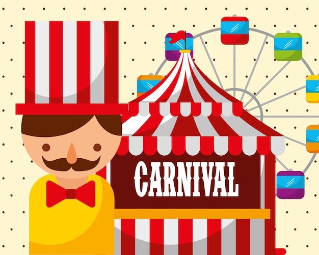 Man tent ferris wheel carnival fun fair festival