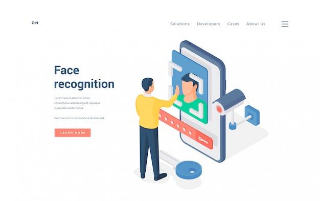 Man testing face recognition app.   illustration
