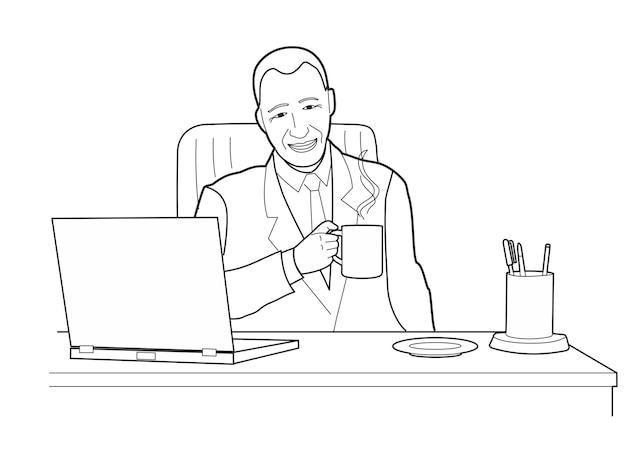 노트북이 있는 책상에서 생각하고 사무실을 올려다보는 남자. 흰색 배경에 고립 된 검은 벡터 일러스트 레이 션