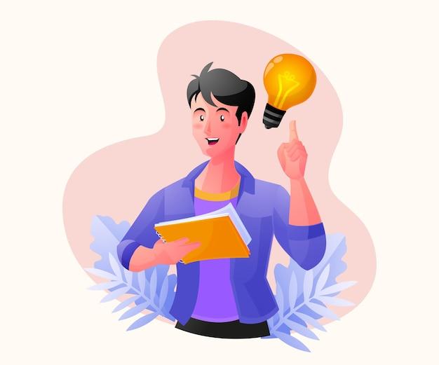 Человек думает и находит концепции решения проблем с помощью лампочки
