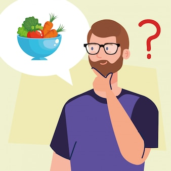 Man thinking in healthy food