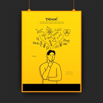 Man thinking with outline icons on yellow background, back to school poster