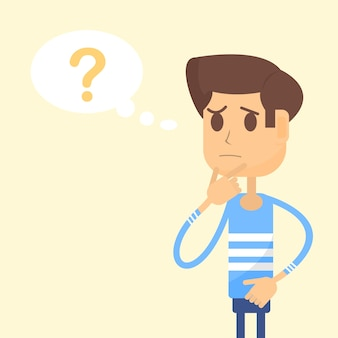 Man thinks and there is a question mark in speech bubble