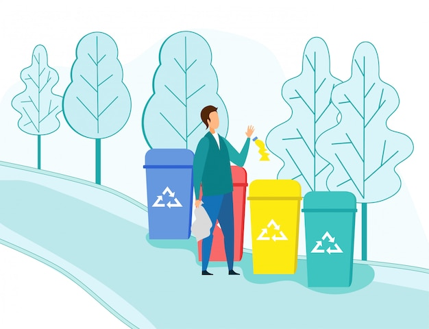 Man throw garbage into outdoors recycle containers