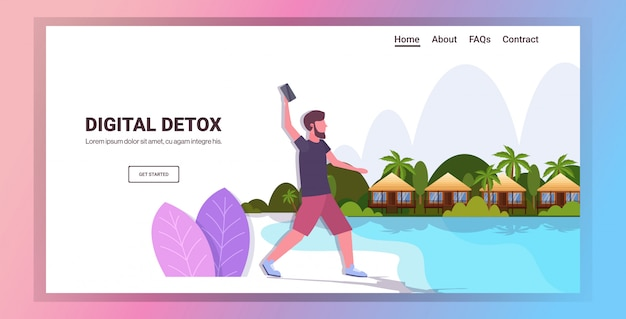 Человек, выбрасывая смартфон цифровой концепции детокс парень расслабляющий на тропическом пляже, отказавшись от гаджетов