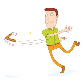 Man throwing a boomerang