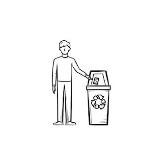쓰레기통에 쓰레기를 던지는 남자 손으로 그린 윤곽선 낙서 아이콘. 생태 보호 개념입니다. 인쇄, 웹, 모바일 및 인포그래픽을 위한 쓰레기통 벡터 스케치 삽화가 있는 남성 그림.