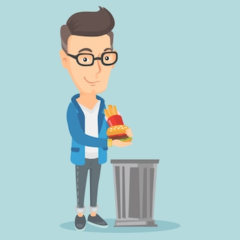 Man throwing junk food vector illustration.