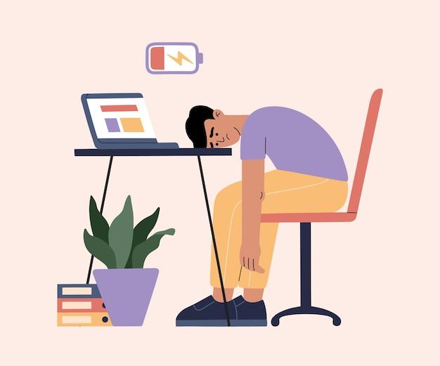 Человек устал от тяжелой работы, сонный на работе.