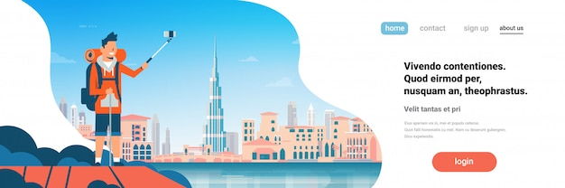 Man tourist backpack taking selfie photo over beautiful dubai city. landing page or web template with illustration