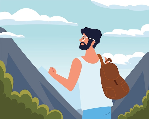 Человек турист ищет пейзаж
