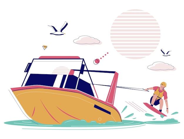 Человек, буксируемый моторной лодкой, катание на вейкборде, векторная иллюстрация, вейкбординг, экстремальные водные виды спорта и рек ...