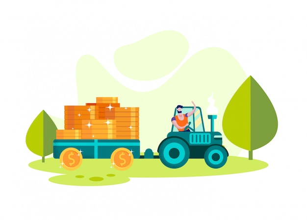 Man on tractor transport trailer with coin. vector