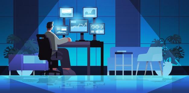 직장 전체 길이 수평 벡터 일러스트 레이 션에서 컴퓨터 모니터에 차트 그래프와 요금을 분석하는 남자 상인 주식 시장 브로커
