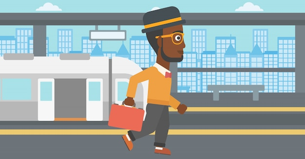 Man at the train station vector illustration.