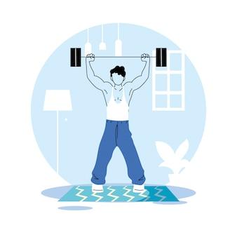 Man training at home for quarantine vector illustration design