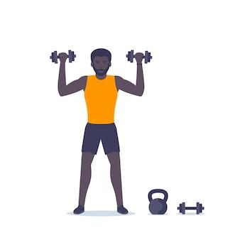 Тренировка плеч человек, тренировка с гантелями