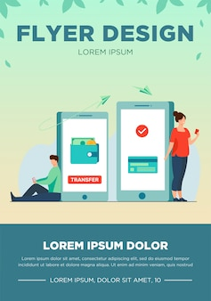 Man transferring money to woman via smartphone. online, transaction, banking flat vector illustration. finance and digital technology concept for banner, website design or landing web page