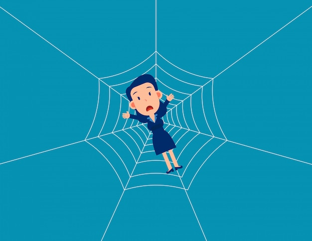 Man trap spider web. business fall into a trap