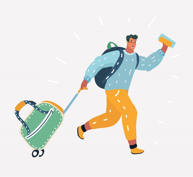 Man travel concept. rushing passenger
