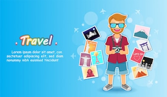 Man traveler and  picture album with travel elements.